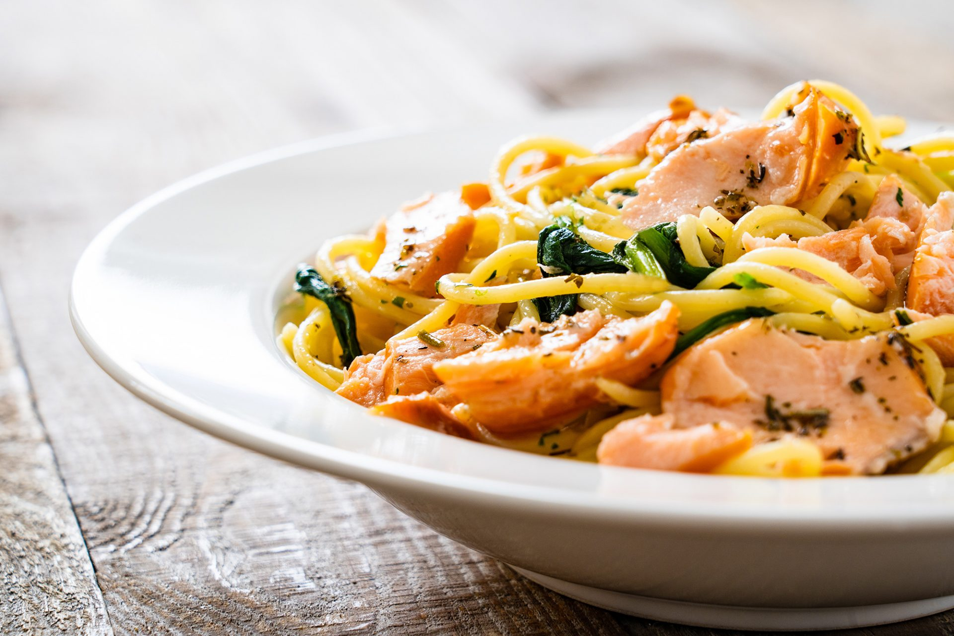 Spaghettini with Salmon, Lemon and Rainforest Season